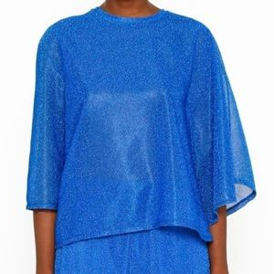 Asymmetrical Lurex Top in Electric Blue